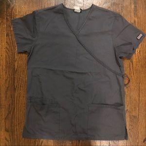 Cherokee Workwear Tie Back Mock Wrap Tunic